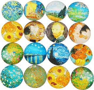 JJG 50 PCS Starry Night Van Gogh Painting Glass Dome Cabochons Half Round Flatback, 8mm Diameter, Mix Colors