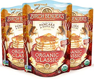 Birch Benders Organic Pancake and Waffle Mix, Whole Grain, Non-GMO, Just Add Water, 16 Ounce, Pack of 3