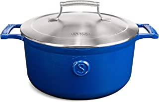SAVEUR SELECTS Enameled Cast Iron Casserole, 5-Quart Dutch Oven with Stainless Steel Lid, Classic Blue, Voyage Series