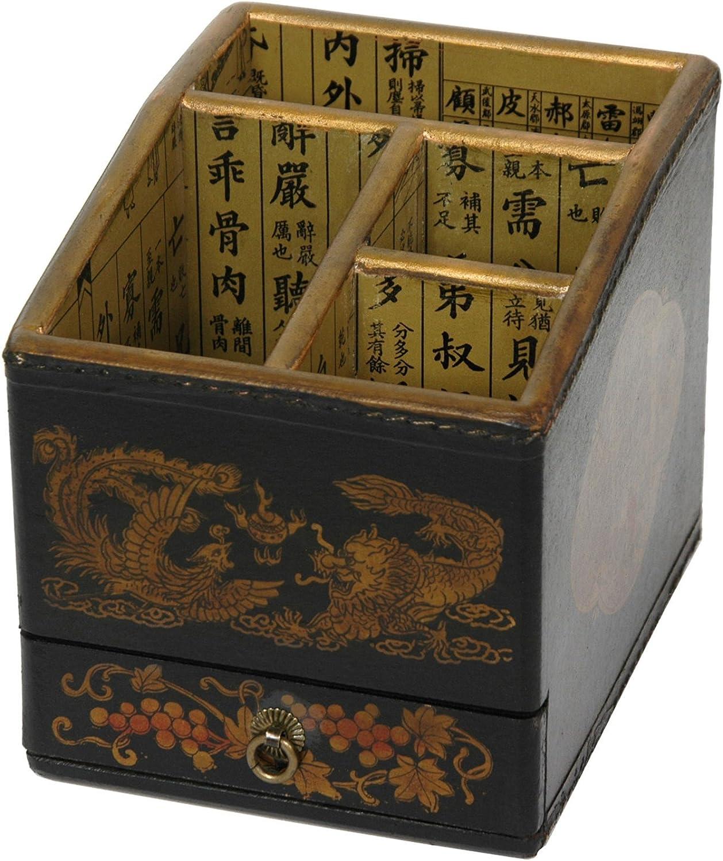 Oriental Furniture Black Lacquer Desk Organizer