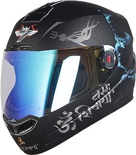 Steelbird SBA-1 Mahadev Night Vision Full Face Helmet in Matt Finish (Large 600 MM, Matt Black/Blue)