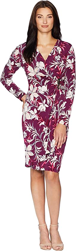 Printed Faux Wrap Dress CD8A332R