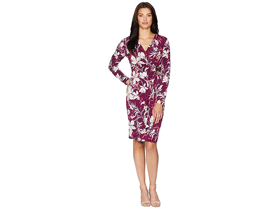 Calvin Klein Printed Faux Wrap Dress CD8A332R (Aubergine Multi) Women