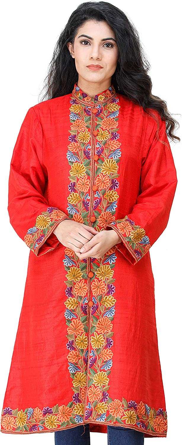 Exotic India OFFicial mail order Flame-Scarlet Long Year-end annual account Jacket from Kashmir Chain-S with