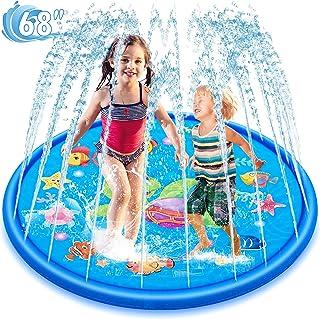 Splash Pad Sprinklers for Kids Toys, 68'' Kid Sprinklers Outside Toys Water Toys for Kids Splash Play Mat Kids Stocking Stuffers Kiddie Pools Summer Gifts for 1-12 Years Old Boys Girls Toddlers