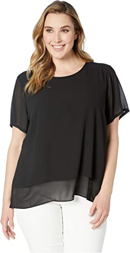 Plus Size Back Cut Out Short Sleeve Top