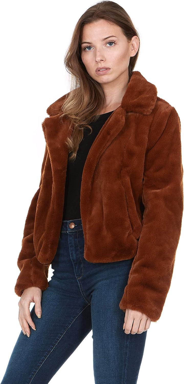 SILENT NEW YORK Women's Faux Fur Cropped Open Jacket