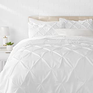 AmazonBasics Pinch Pleat Comforter Bedding Set, King, Bright White