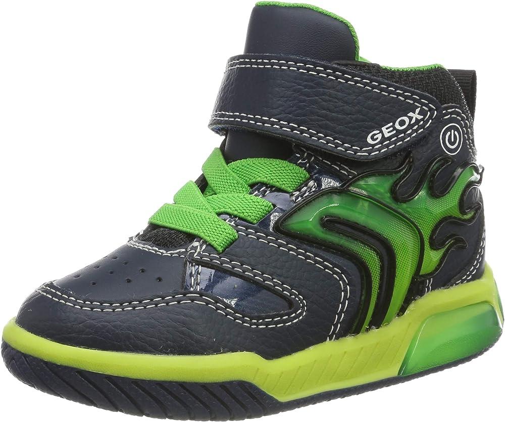 Geox inek junge boy c, scarpe da ginnastica a collo alto bambino con luci J949CC0BU11