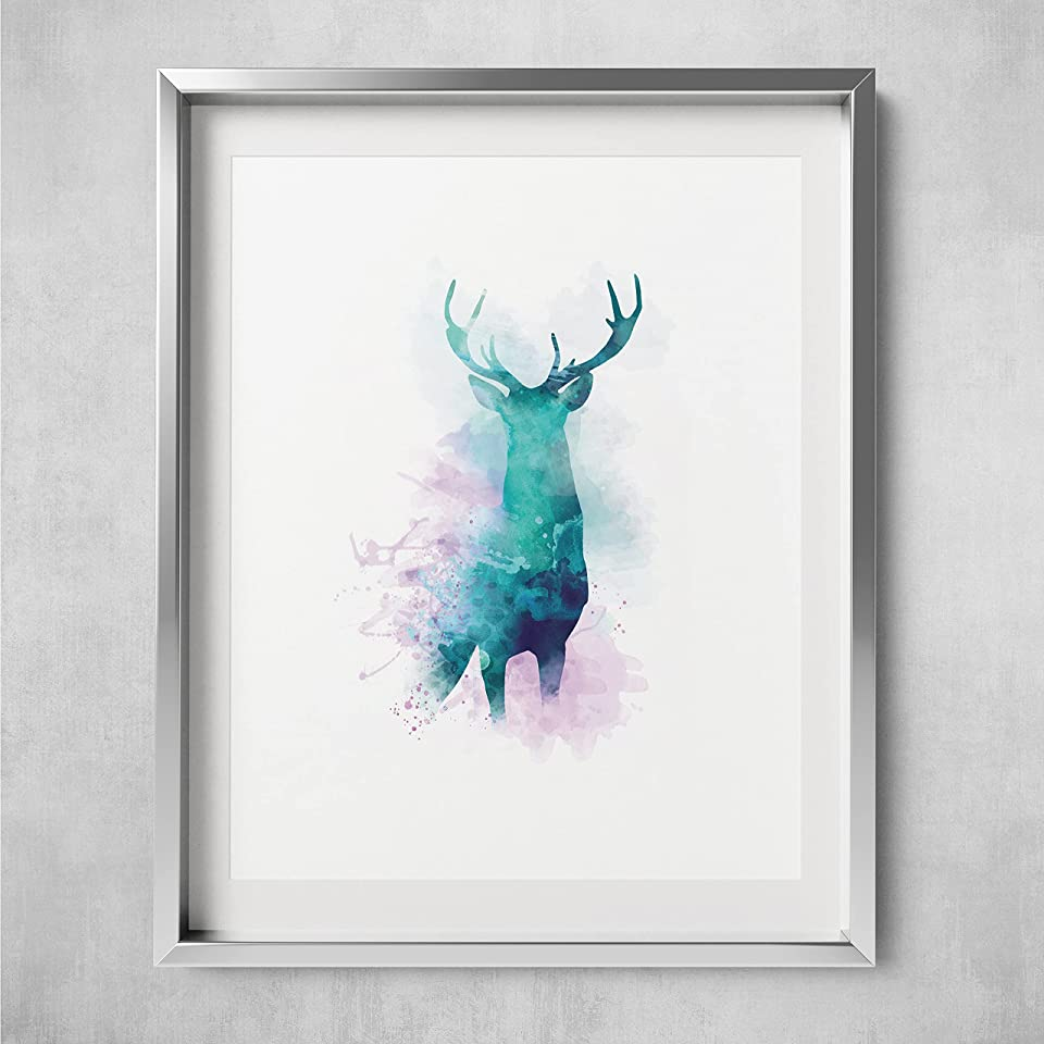 Stag Original Wall Art Animal Print Picture, Beautiful Digital Hand Drawn Wall Art Watercolour Poster - by Mark Peters - Unframed poster A3 / A4 (A4, Aurora)