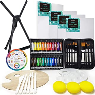 MEEDEN 53-Piece Acrylic Painting Set - Aluminum Table Easel, 24 Acrylic Paints, Stretched Canvas, Paint Brushes & Plastic ...