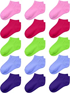 90d04c9e39e Coobey 15 Pack Kids  Half Cushion Low Cut Athletic Ankle Socks Boys Girls  Ankle Socks