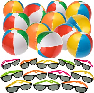 NJ Novelty Beach and Pool Party Favors - Inflatable Beach Balls and Neon Sunglasses Summer Party Set 24 Pieces Total, Rainbow Color