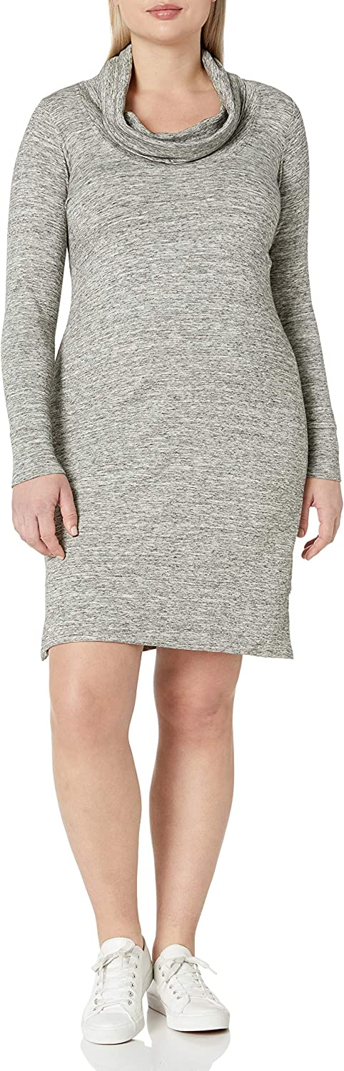 Daily Ritual Women's Plus Size Supersoft Terry Long-Sleeve Cowl Neck Dress