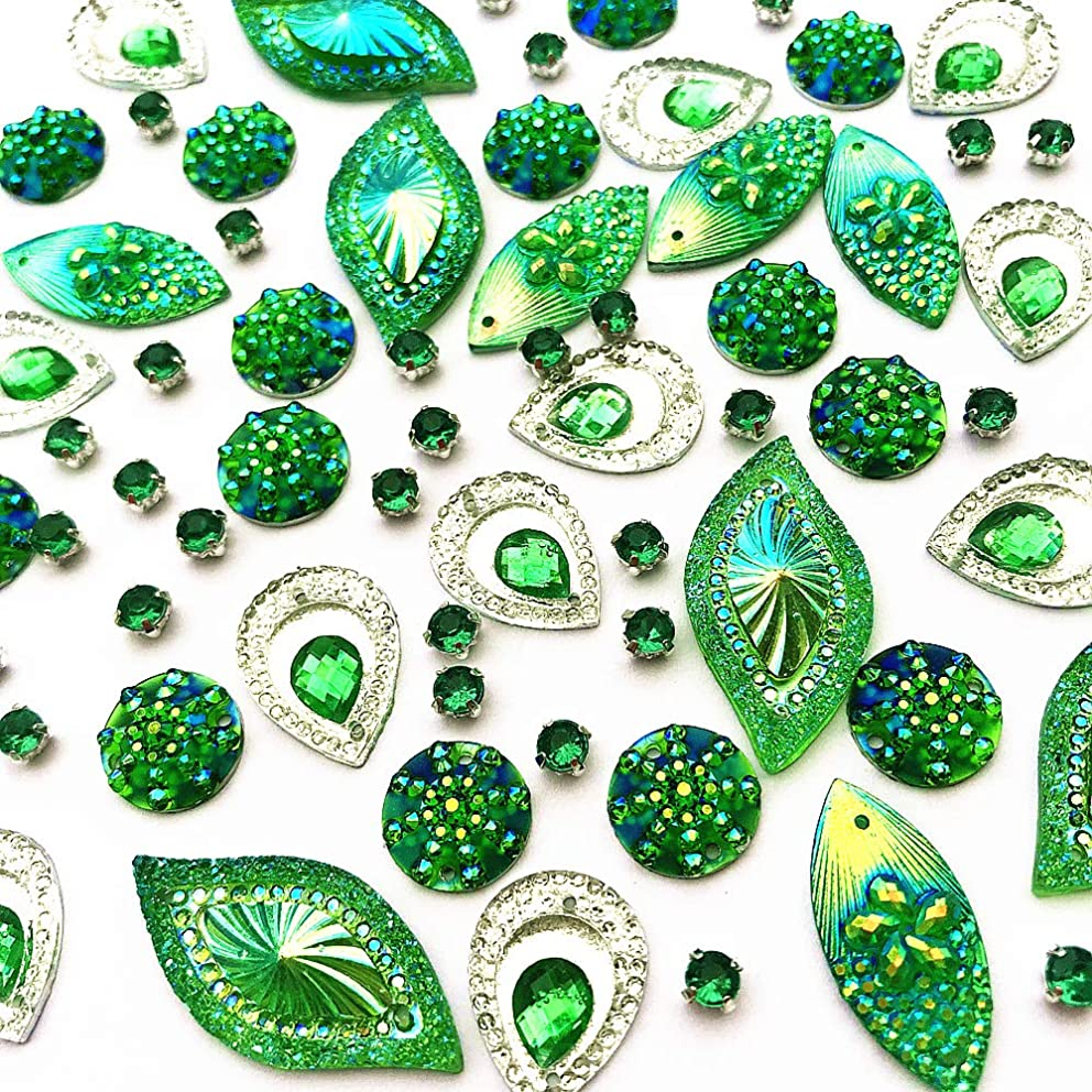 180PCS Mixed Shapes Stunning Green Gems Sew On Rhinestones Faceted Flatback Crystal Jewelry for DIY Crafts Decoration