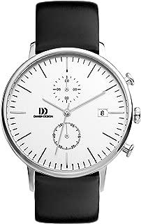 Danish Design Men's Quartz Watch with White Dial Chronograph Display and Black Leather Strap DZ120139