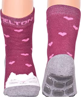 Melton Little Boys' and Girls' Terrycotton Non-Skid Gripped Animal Socks - brown - 1-2Y