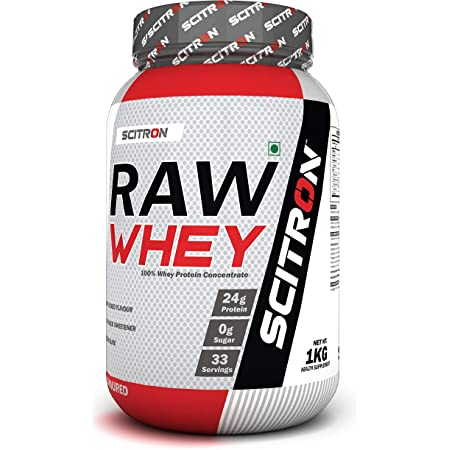 Scitron Raw Whey (100% Whey Protein Concentrate, 24g Protein, 0g Sugar, 33 Servings, Essential & Non-Essential Amino Acids, No Added Flavour & Sweetener) - 1 kg