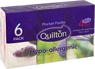 Quilton 4 Ply Hypo-Allergenic 10 Pocket Tissues, 7 x 6 packs (42 Pack total, 420 tissues)