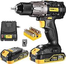 Cordless Drill, 20V Drill Driver 2x2000mAh Batteries, 530 In-lbs Torque, 24+1 Torque..