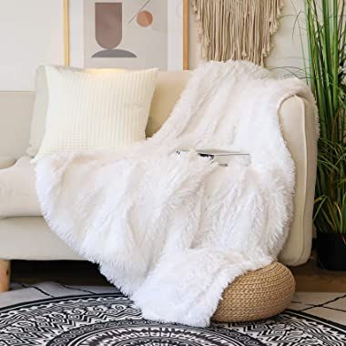 """Decorative Extra Soft Faux Fur Throw Blanket 50"""" x 60"""",Solid Reversible Fuzzy Lightweight Long Hair Shaggy Blanket,Fl"""