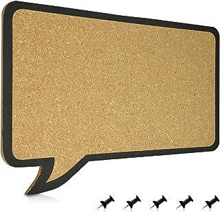 Navaris Tablero 44x29cm tablero diseño de globos de texto 100% corcho incl 5 chinchetas placa estable con sujeciones de pared sin marco