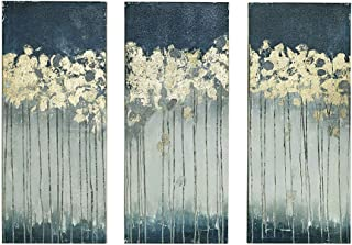 Madison Park Midnight Forest Wall Art Hand Embellished Abstract Stretched 3 Piece Set Canvas Painting Living Room Décor, Gold