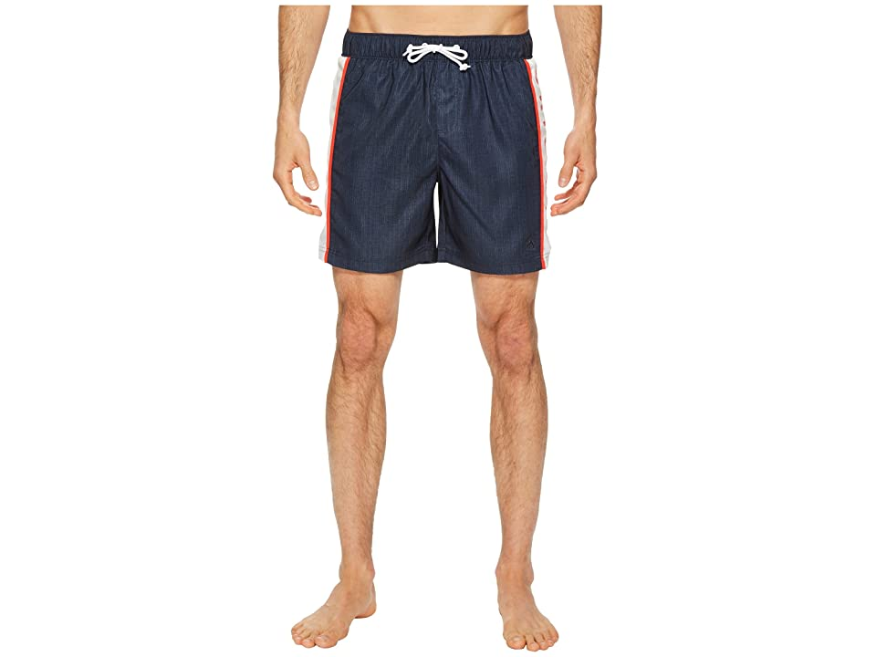 Original Penguin Color Blocked Logo Printed Elastic Stretch Swim Shorts (Dark Sapphire) Men