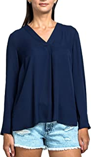 Everyday Womens Casual V-Neck Long Sleeve Blouse, Graceful Drape, Loose fit, Chiffon, Wear to Work