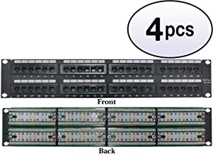 GOWOS (4 Pack) Rackmount 48 Port Cat5e Patch Panel, Horizontal, 110 Type, 568A & 568B Compatible, 2U