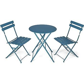 Outsunny Sitzgruppe 3-teilige Essgruppe Gartenmöbel-Set 1 Tisch+2 Stühle Metall