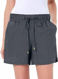Company Ellen Tracy Women's Drawstring Waist Linen Shorts (Medium, Iron)