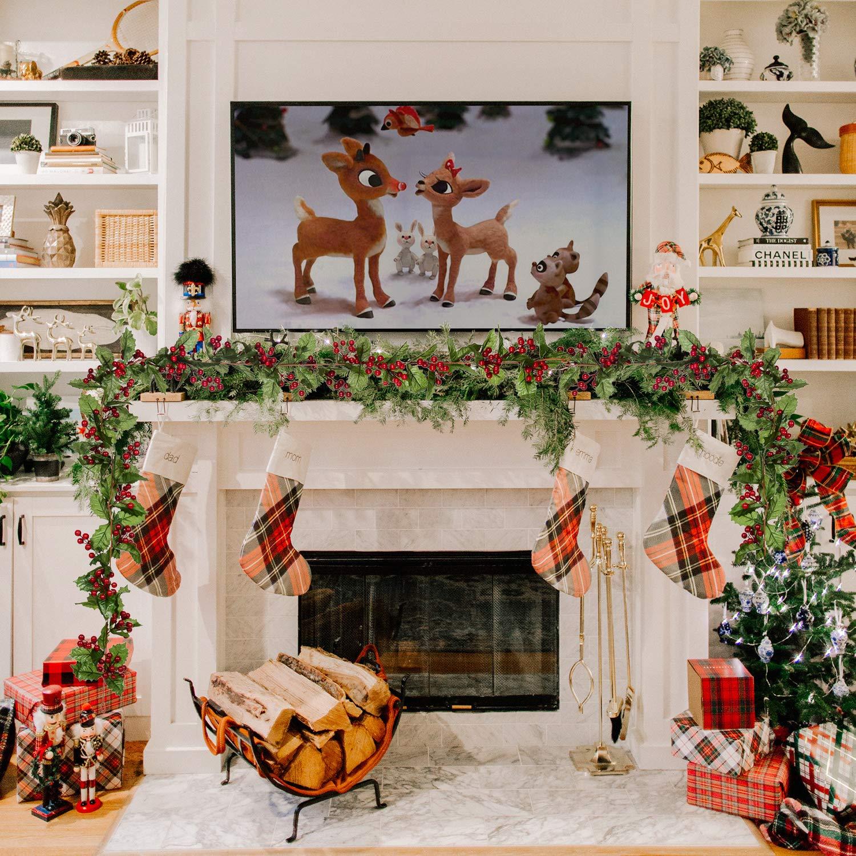 YQing 1 Pieza Guirnalda de Bayas Rojas Artificiales, 183cm Navidad Bayas Guirnalda con Hojas Verdes Guirnalda Navidad para decoración navideña Artesanal de Vacaciones: Amazon.es: Hogar