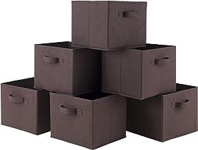 Winsome Capri Set of 6 Foldable Fabric Baskets, Chocolate, Set of 6