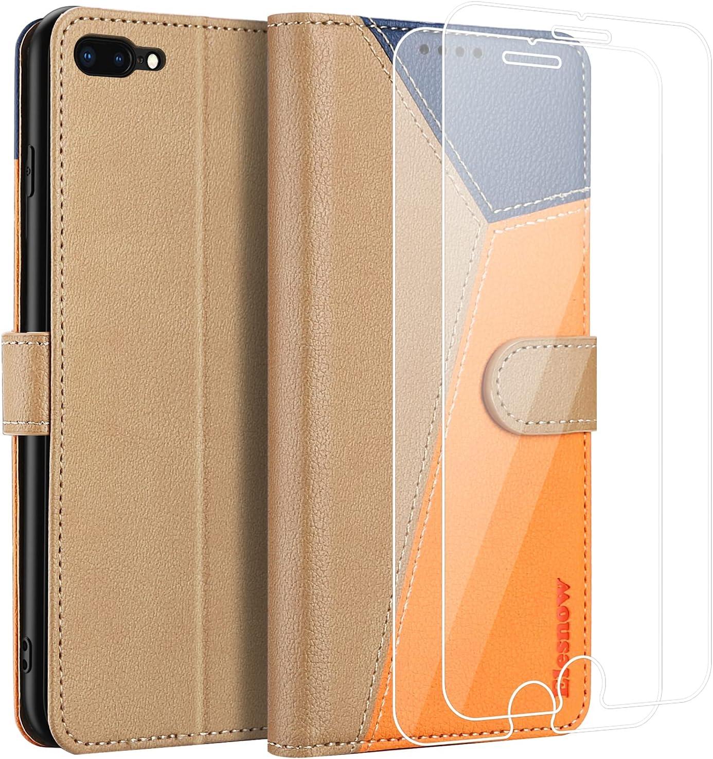 ELESNOW Funda para iPhone 7 Plus / 8 Plus con [Templado Protector de Pantalla] Carcasa Magnética Tarjetero Tapa de Cuero para Apple iPhone 7 Plus / 8 Plus - 5.5