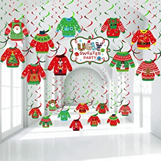 30 Pieces Ugly Sweater Party Decoration Ugly Sweater Cutouts Tacky Christmas Sweater Party Foil Hanging Swirls Ceiling for...