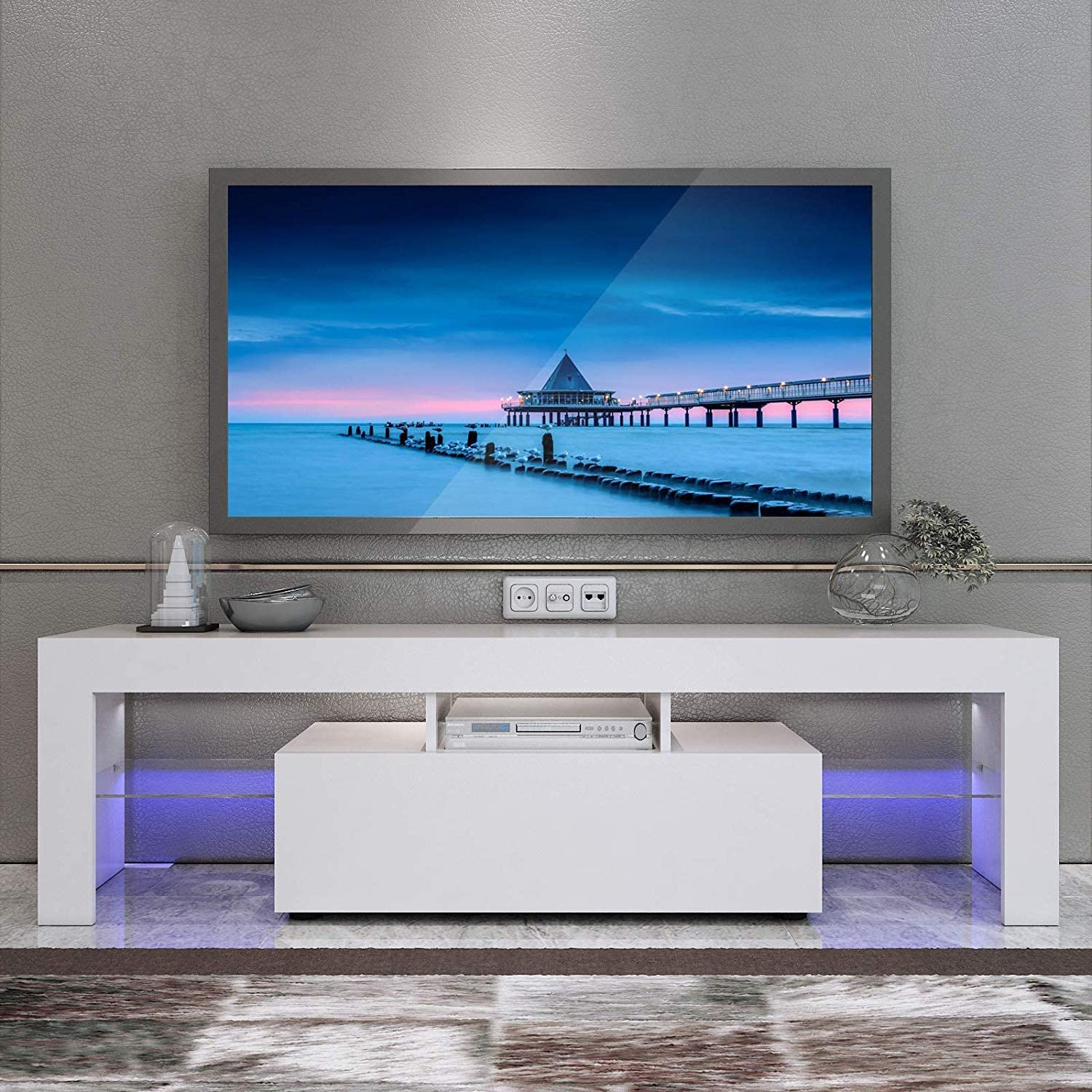 Mtfy Modern Simple Tv Stand With Led Television Stand Entertainment Center Console Table For Living Room For 51 Tv White Furniture Decor
