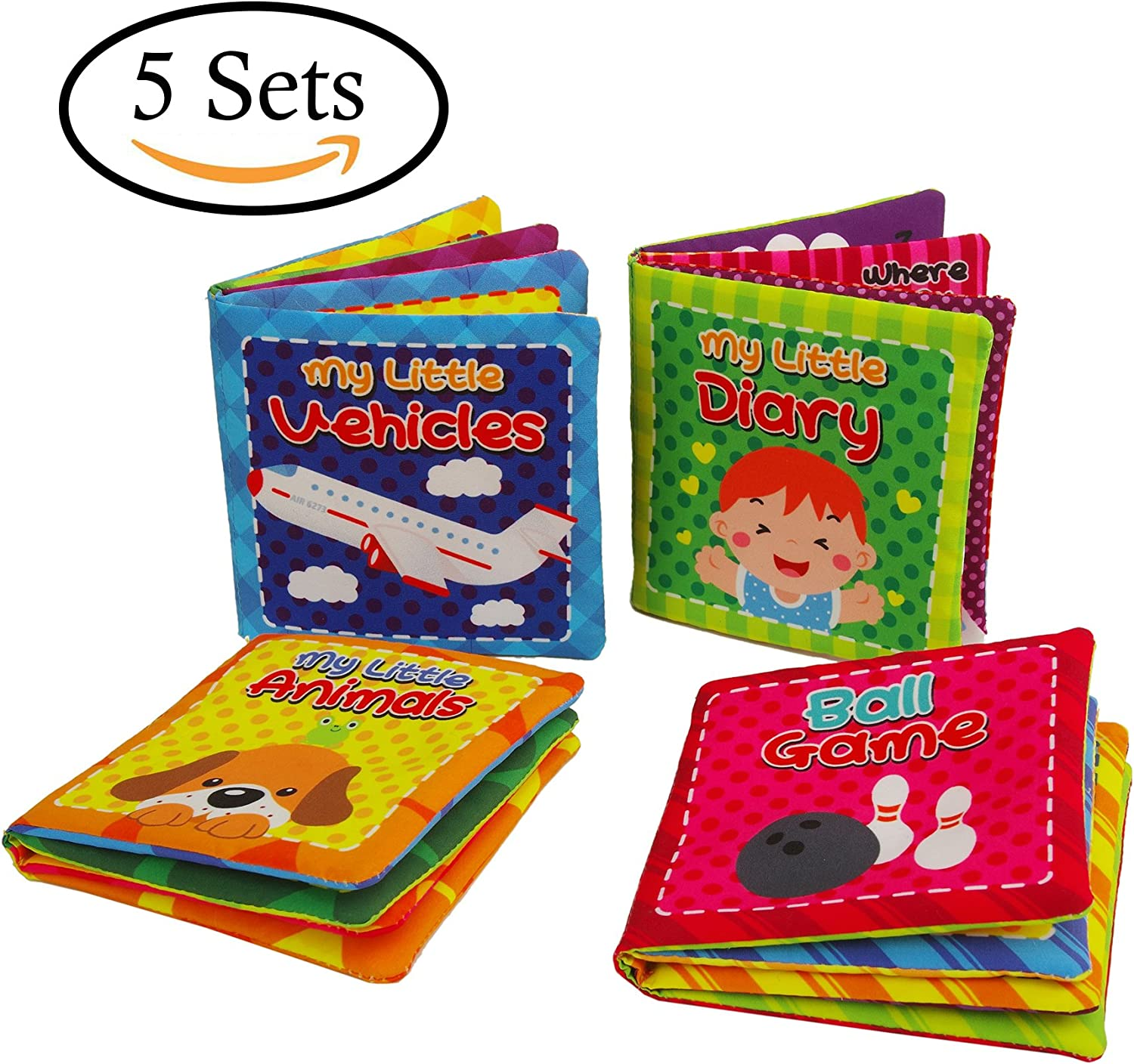 Quner Baby's First NonToxic Soft Cloth Book Baby Cloth Book Set Kids Early Learning Educational ToysPack of 4