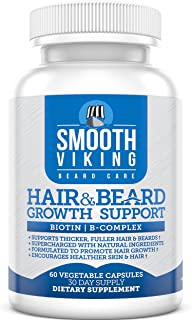 Smooth Viking Hair and Beard Growth Vitamin Supplement for Men, 5000 MCG Biotin & DHT Blocker for Hair Loss Treatment, 60 Capsules