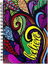 ColorIt Hard Cover Double Spiral Notebook 200 Lightly Lined Pages, 6x8.5 Journal, Planner, Log Book, Diary, Hand Drawn Doo...