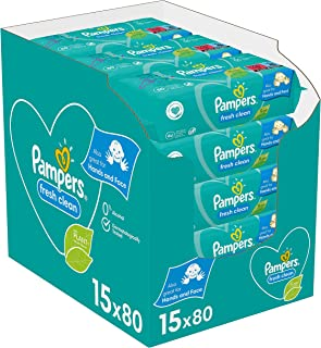 Pampers Fresh Clean Billendoekjes, 1200 Babydoekjes, met Frisse Geur, Ook Voor Handen en Gezicht, Dermatologisch Getest (1...