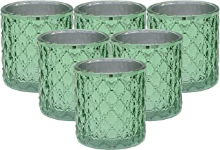 Large Quilted Glass Votive Tealight Candle Holders - Bulk Set of 6 - Mint Green