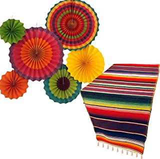 Jelda's Fiesta Party Supplies | Mexican Party Decorations | Theme Decor for Wedding, Birthday, Cinco De Mayo, Coco, Taco, etc. | Serape Table Runner | Colorful Paper Fans