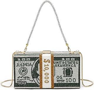 Geldtasche mit Strasssteinen, für Frauen, Glitzer, funkelnder Kristall, Diamant-Stapel-Dollar-Abendtasche