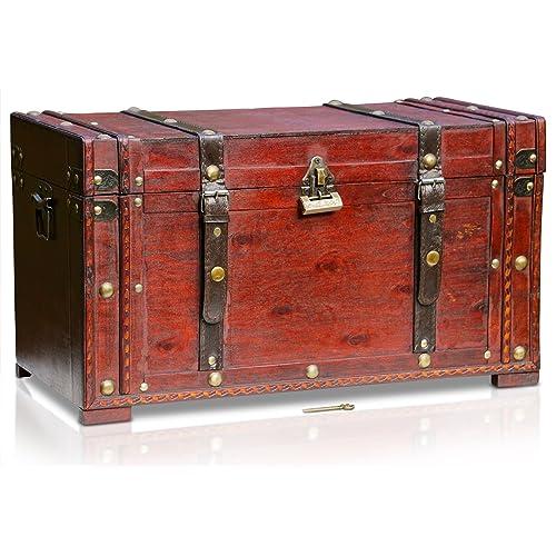Brynnberg - Boîte de Rangement Coffre au Trésor Cadenas - 50x25x28 cm