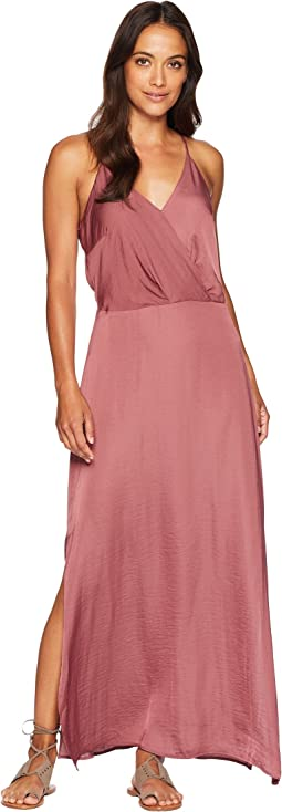 Sleeveless Wrap Front Rumple Maxi Dress