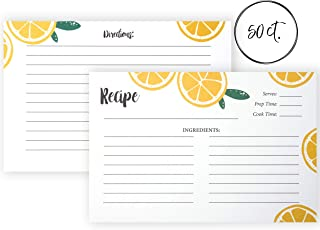 Outshine 50 Ct Fruit Lemon Orange Recipe Cards for Recipe Box | 4x6 Blank Recipe Cards| Double Sided Thick Card Stock Wont Smear (Fruit 50ct)