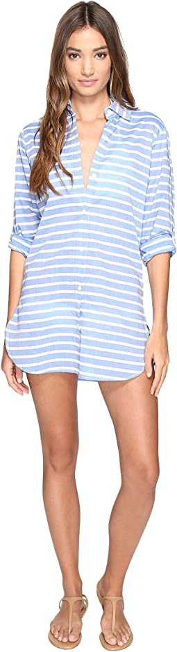 Tommy Bahama - Breton Stripe Boyfriend Shirt Cover-Up