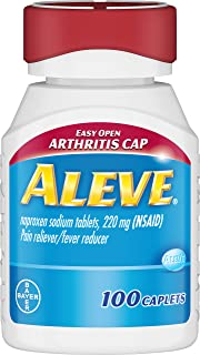Aleve Easy Open Arthritis Cap Caplets, Naproxen Sodium 220 mg (NSAID), Pain Reliever/Fever Reducer, #1 Orthopedic Surgeon Recommended, 100 Count