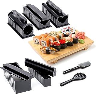 11-Piezas Kit Completo para Hacer Sushi con Sushi Maker, 5 Moldes, Tenedor y Espátula para Arroz, Cuchillo - 100% Sin BPA, Fácil de Limpiar y Usar, Apto para Lavavajillas| Instrucciones Incluidas.